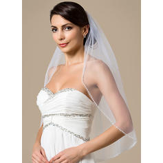 Elbow Bridal Veils Tulle One-tier With Pearl Trim Edge With Beading/Faux Pearl Wedding Veils
