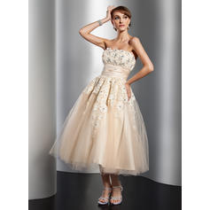 Luxurious Strapless A-Line/Princess Wedding Dresses Tea-Length Tulle Sleeveless (002211362)