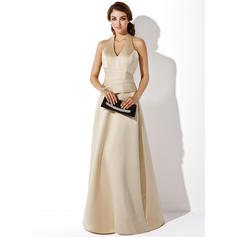 A-Line/Princess Satin Bridesmaid Dresses Halter Sleeveless Floor-Length