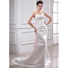 Trumpet/Mermaid Sweetheart Chapel Train Wedding Dresses With Ruffle Lace Sash Beading Bow(s)