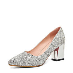 Women's Closed Toe Chunky Heel Sparkling Glitter Wedding Shoes