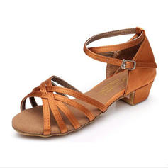 Kids' Latin Sandals Flats Satin With Ankle Strap Dance Shoes