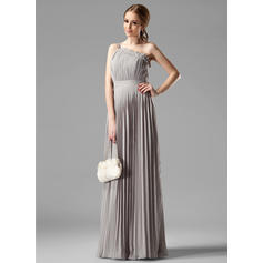 Empire Chiffon Bridesmaid Dresses Beading Pleated One-Shoulder Sleeveless Floor-Length (007000957)