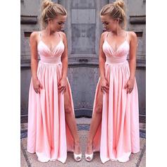 A-Line/Princess Chiffon Prom Dresses Split Front V-neck Sleeveless Floor-Length