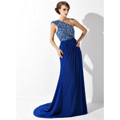 A-Line/Princess Chiffon Sleeveless One-Shoulder Court Train Zipper Up at Side Mother of the Bride Dresses (008006081)