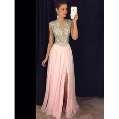 A-Line/Princess Scoop Neck Floor-Length Evening Dresses With Beading Split Front