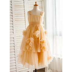 A-Line/Princess Straps Knee-length With Ruffles/Bow(s)/Pleated Tulle Flower Girl Dresses