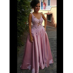 A-Line/Princess Scoop Neck Sweep Train Prom Dresses With Beading Appliques Lace