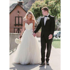 A-Line/Princess Sweetheart Sweep Train Wedding Dresses With Sash