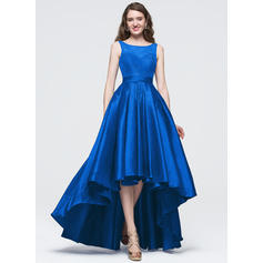 A-Line/Princess Scoop Neck Asymmetrical Prom Dresses With Bow(s)