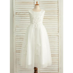 A-Line/Princess Floor-length Flower Girl Dress - Satin/Tulle Sleeveless Scoop Neck With Sequins