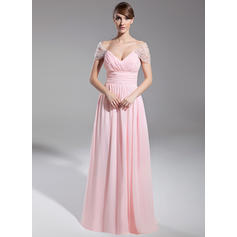 A-Line/Princess Off-the-Shoulder Floor-Length Evening Dresses With Ruffle Beading (017014708)