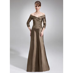 A-Line/Princess Taffeta 3/4 Sleeves Off-the-Shoulder Sweep Train Zipper Up Mother of the Bride Dresses (008006211)