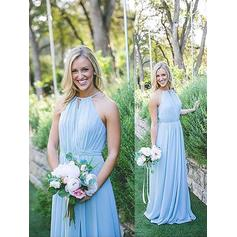 A-Line/Princess Chiffon Bridesmaid Dresses Ruffle Halter Sleeveless Floor-Length