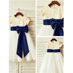 A-Line/Princess Scoop Neck Tea-length With Bow(s) Satin/Tulle Flower Girl Dresses