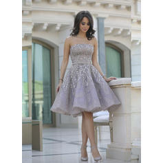 A-Line/Princess Strapless Knee-Length Cocktail Dresses With Ruffle Sash Beading