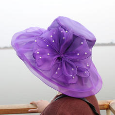 Organza With Flower Floppy Hat Romantic Ladies' Hats