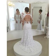 Princess Scoop Sheath/Column Wedding Dresses Sweep Train Lace Long Sleeves