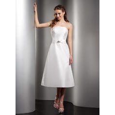 A-Line/Princess Taffeta Bridesmaid Dresses Ruffle Beading Strapless Sleeveless Tea-Length (007001078)