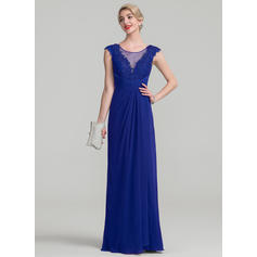 A-Line/Princess Chiffon Lace Sleeveless Scoop Neck Floor-Length Zipper Up Mother of the Bride Dresses