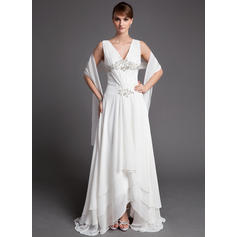 A-Line/Princess Chiffon Sleeveless V-neck Asymmetrical Zipper Up Mother of the Bride Dresses (008005972)