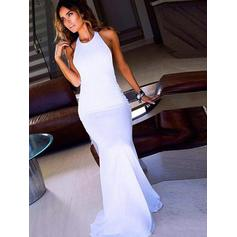 Sheath/Column Scoop Neck Sweep Train Prom Dresses