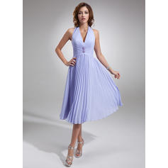 A-Line/Princess Chiffon Bridesmaid Dresses Beading Pleated Halter Sleeveless Knee-Length (007001067)