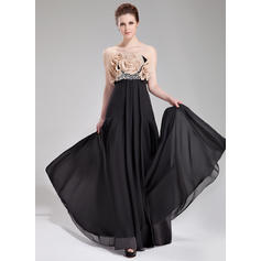 Simple Chiffon Evening Dresses Empire Floor-Length Strapless Sleeveless