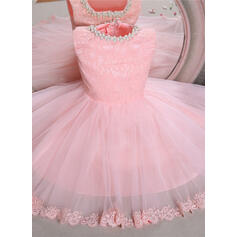 Ball Gown Knee-length Flower Girl Dress - Tulle/Lace Sleeveless Scoop Neck With Beading/Bow(s)