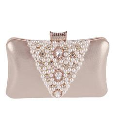 Clutches/Wristlets Wedding/Ceremony & Party Satin/Crystal/ Rhinestone/Alloy Clip Closure Shining Clutches & Evening Bags
