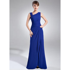Sheath/Column Chiffon Sleeveless V-neck Floor-Length Zipper Up Mother of the Bride Dresses