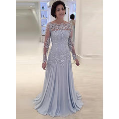A-Line/Princess Chiffon Lace Long Sleeves Square Neckline Sweep Train Zipper Up Mother of the Bride Dresses