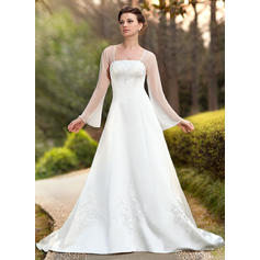 Sexy Square A-Line/Princess Wedding Dresses Chapel Train Chiffon Satin Long Sleeves