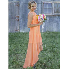 A-Line/Princess Chiffon Bridesmaid Dresses Ruffle Scoop Neck Sleeveless Asymmetrical
