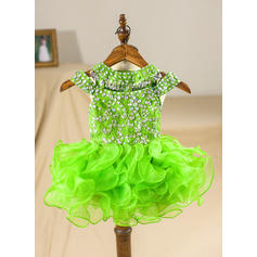 A-Line/Princess Scoop Neck Knee-length With Beading/Back Hole Organza Flower Girl Dresses