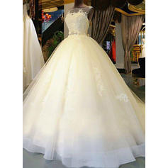 Ball-Gown Tulle Sleeveless Scoop Cathedral Train Wedding Dresses