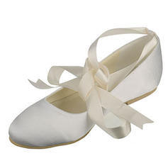 Women's Closed Toe Flats Flat Heel Silk Like Satin With Bowknot Wedding Shoes