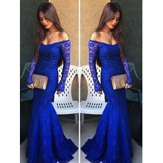 Trumpet/Mermaid Lace Prom Dresses Off-the-Shoulder Long Sleeves Floor-Length (018210325)
