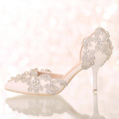 Women's Closed Toe Pumps Sandals Stiletto Heel Leatherette With Rhinestone Wedding Shoes