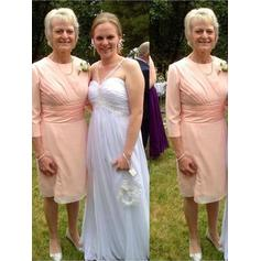 A-Line/Princess Chiffon 3/4 Sleeves Scoop Neck Knee-Length Zipper Up Mother of the Bride Dresses
