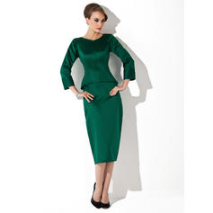 Sheath/Column Satin 3/4 Sleeves Scoop Neck Tea-Length Zipper Up at Side Mother of the Bride Dresses