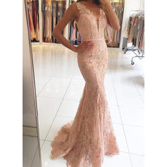 Trumpet/Mermaid Sweep Train Evening Dresses V-neck Tulle Lace Sleeveless