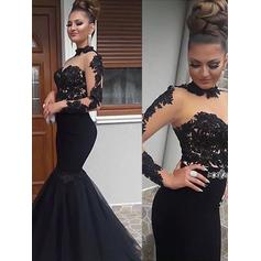 Trumpet/Mermaid High Neck Floor-Length Prom Dresses With Appliques Lace (018218134)