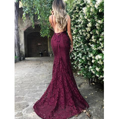 Trumpet/Mermaid Court Train Prom Dresses V-neck Lace Sleeveless (018145977)