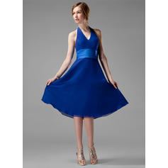 A-Line/Princess Chiffon Bridesmaid Dresses Ruffle Halter Sleeveless Knee-Length