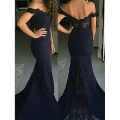 Trumpet/Mermaid Off-the-Shoulder Sweep Train Satin Prom Dresses