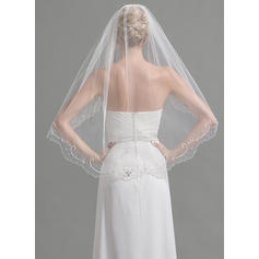 Fingertip Bridal Veils Tulle One-tier Oval With Beading/Sequin Wedding Veils