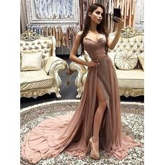 A-Line/Princess Sweetheart Court Train Evening Dresses With Cascading Ruffles