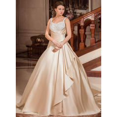 Ball-Gown Sweetheart Court Train Wedding Dresses With Lace Beading Cascading Ruffles