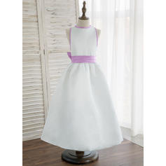A-Line/Princess Ankle-length Flower Girl Dress - Satin Sleeveless Scoop Neck With Bow(s) (Undetachable sash)